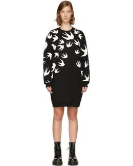Black Swallow Sweatshirt Dress