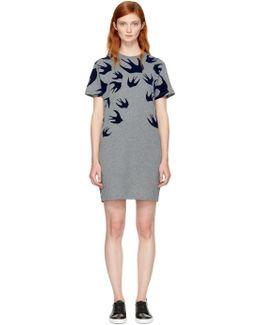 Grey Swallows T-shirt Dress