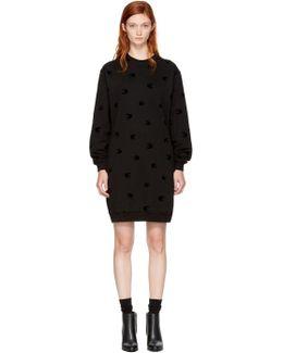 Black Micro Swallow Sweatshirt Dress