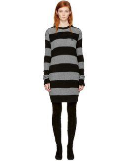 Grey & Black Punk Stripe Swallow Sweater Dress
