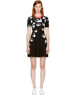 Black Swallow Skater Dress