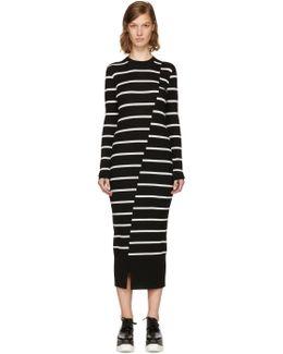 Black Distort Stripe Dress