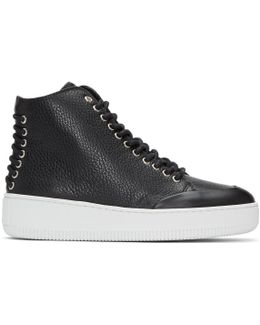 Black Netil Eyelet High-top Sneakers