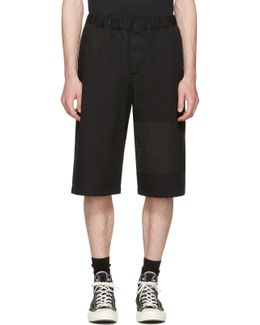 Black Panelled Chino Shorts