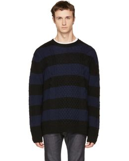 Black & Navy Striped Cable Crewneck Sweater