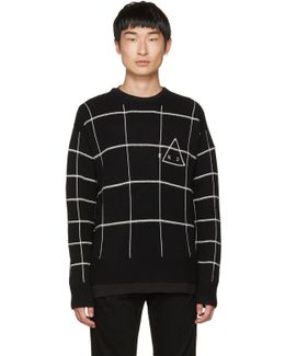 Black 'end' Grid Sweater