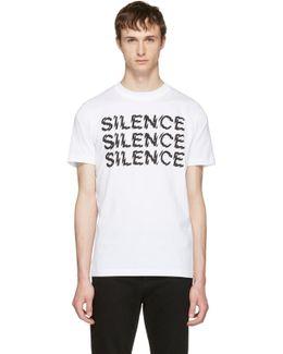 White 'silence' T-shirt