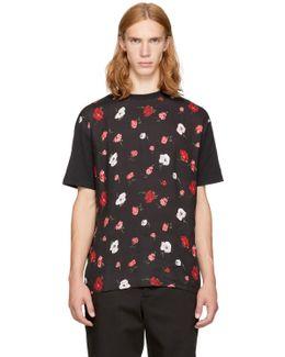 Black 'thrift Store Florals' T-shirt