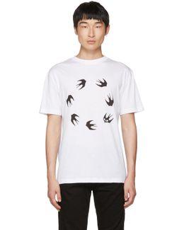White Dropped Shoulder Swallow T-shirt
