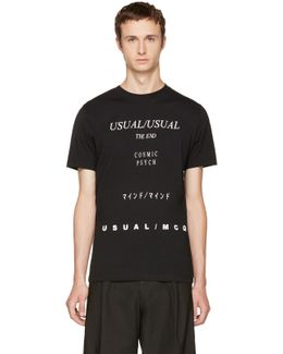 Black 'usual/usual' T-shirt