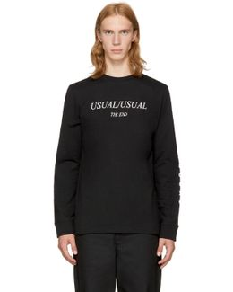 Black Long Sleeve 'usual/usual' T-shirt