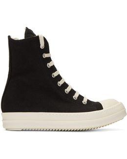 Black Canvas Cap Toe High-top Sneakers