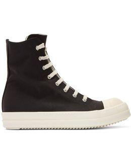 Black Nylon Canvas Cap Toe High-top Sneakers