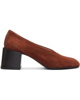 Brown Suede Sully Deconstructed Heels