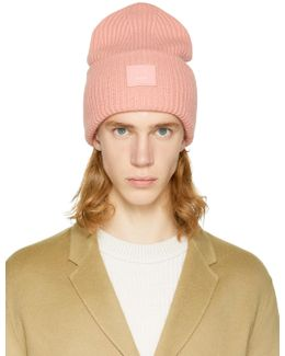 Pink Pansy L Face Beanie