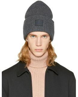 Grey Pansy L Face Beanie