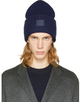 Navy Pansy L Face Beanie