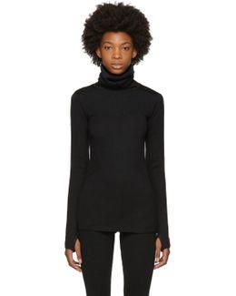 Black Fine Knit Hoodie