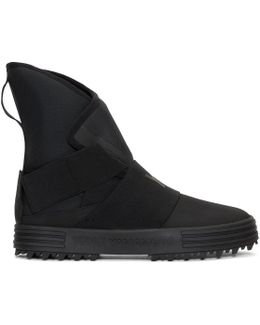 Black New Snow Foxing Strap High-top Sneakers
