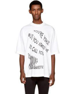 White 'you're Yohji' T-shirt