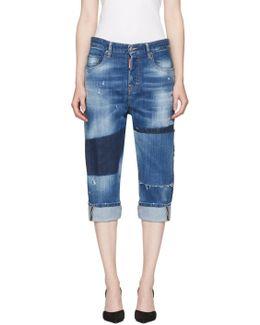 Blue Patchwork Kawaii Jeans