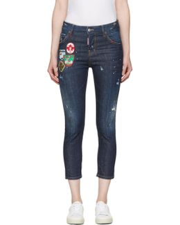 Blue Patchwork Cool Girl Jeans