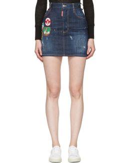 Blue Patchwork Denim Miniskirt