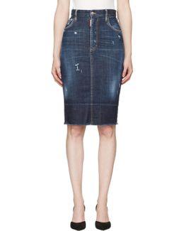 Blue Frayed Hem Skirt