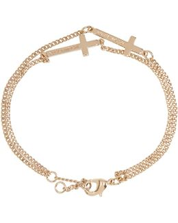 Gold Double Cross Bracelet