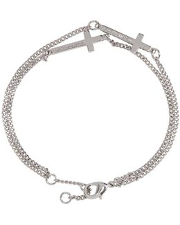 Silver Double Cross Bracelet