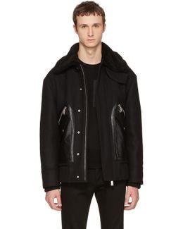 Black Oversized Wool Bomber Jacket