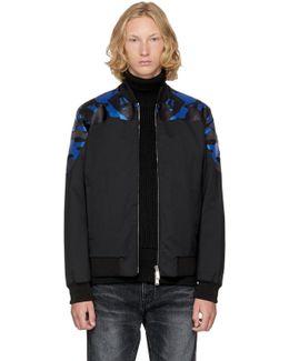 Black Wool Camouflage Bomber Jacket