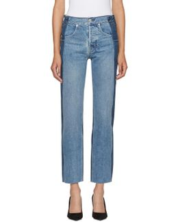 Blue Reconstructed Straight Fray Jeans