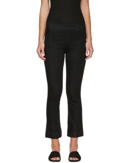 Black Pull-on Crop Flare Trousers