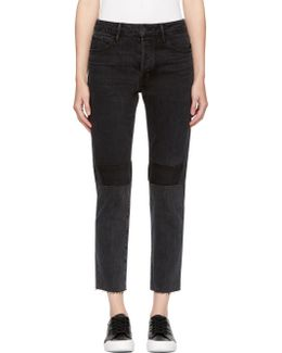 Black Patchwork High-rise Crop Jeans