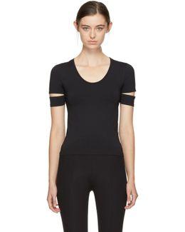 Black Slit Cap Sleeve T-shirt