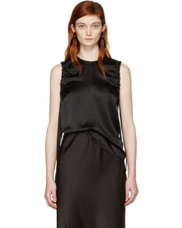 Black Armhole Ruched Silk Tank Top