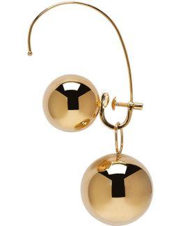 Gold Hoop Sphere Ear Cuff