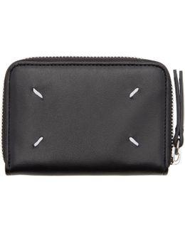 Black Compact Zip Around Wallet