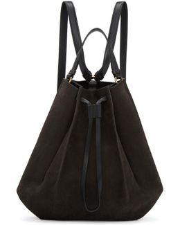 Grey Large Suede Backpack