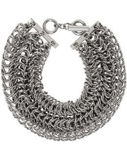 Silver Three Row Box Chain Necklace