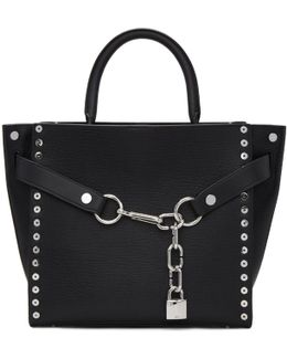 Black Large Studded Attica Chain Satchel