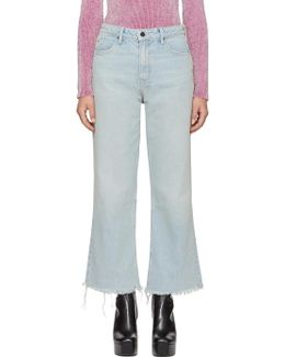 Blue Cropped Loose Kick Jeans