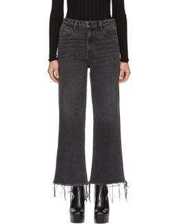Grey Cropped Loose Kick Jeans