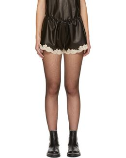 Black Leather Bloomer Shorts