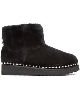 Black Shearling Ball Stud Yumi Boots