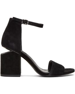 Black Suede Abby Sandals