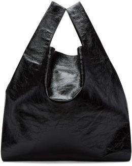 Black Patent Shopping Tote