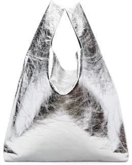 Silver Patent Shopping Tote