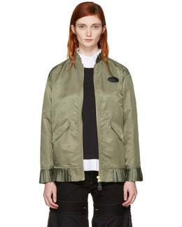 Green Ruffle Bomber Jacket